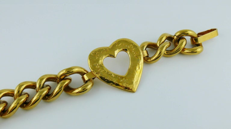 9eef83c2018 Brown Yves Saint Laurent YSL Vintage Gold Toned Heart Chain Belt For Sale