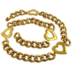 Yves Saint Laurent YSL Vintage Gold Toned Heart Chain Necklace Belt