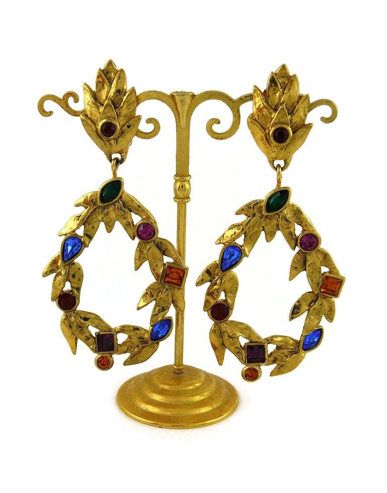 Women's Yves Saint Laurent YSL Vintage Gold Toned Laurel and Crystal Dangling Earrings For Sale