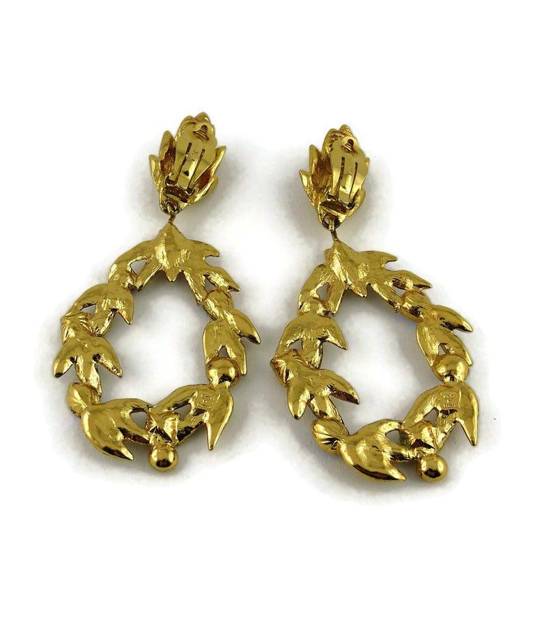 Yves Saint Laurent YSL Vintage Gold Toned Laurel and Crystal Dangling Earrings For Sale 2