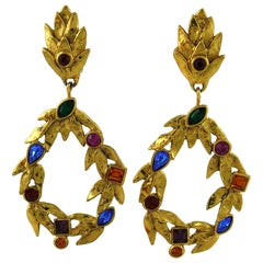 Yves Saint Laurent YSL Vintage Gold Toned Laurel and Crystal Dangling Earrings