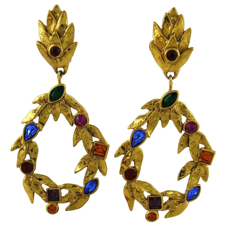 Yves Saint Laurent YSL Vintage Gold Toned Laurel and Crystal Dangling Earrings For Sale