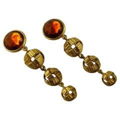 Yves Saint Laurent YSL Vintage Gold Toned Orange Resin Crystal Dangling Earrings