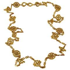 Yves Saint Laurent YSL Vintage Gold Toned Oriental Sautoir Necklace