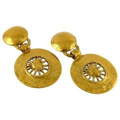 Yves Saint Laurent YSL Vintage Gold Toned Radiant Sun Dangling Earrings