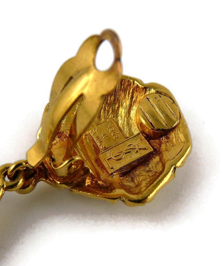 Yves Saint Laurent YSL Vintage Gold Toned Ribbed Dangling Earrings For Sale 4