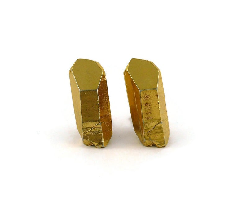 Women's Yves Saint Laurent YSL Vintage Gold Toned Rock Crystal Shaped Clip On Earrings For Sale
