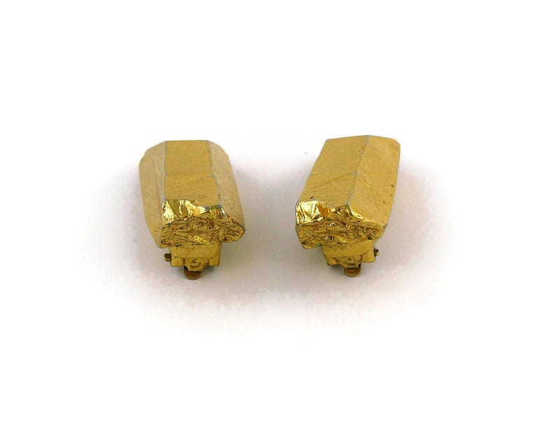 Yves Saint Laurent YSL Vintage Gold Toned Rock Crystal Shaped Clip On Earrings For Sale 4