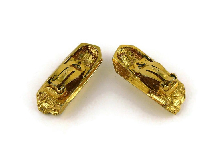 Yves Saint Laurent YSL Vintage Gold Toned Rock Crystal Shaped Clip On Earrings For Sale 5