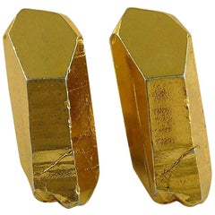 Yves Saint Laurent YSL Vintage Gold Toned Rock Crystal Shaped Clip On Earrings