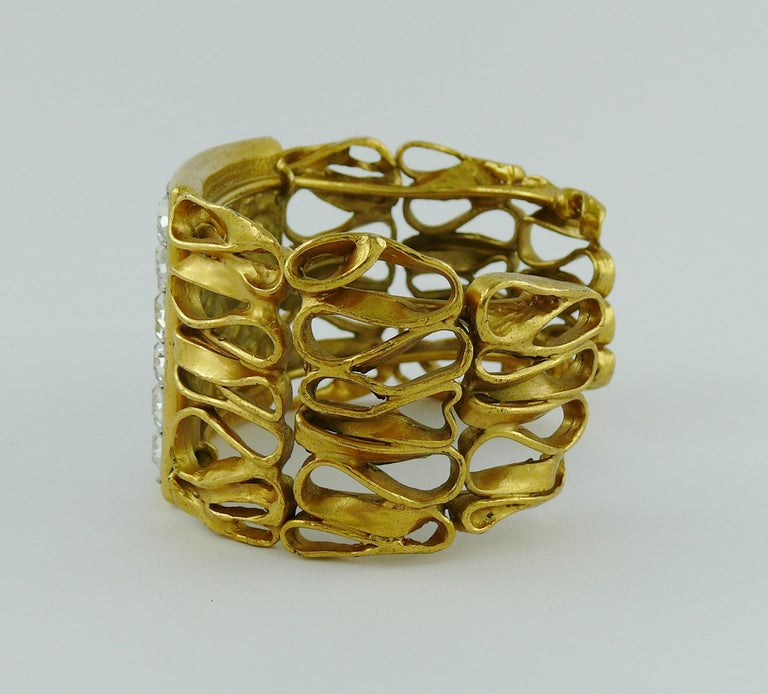 Yves Saint Laurent YSL Vintage Gold Toned Wire Cuff Bracelet For Sale 7