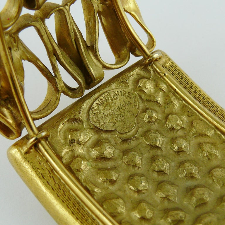 Yves Saint Laurent YSL Vintage Gold Toned Wire Cuff Bracelet For Sale 8