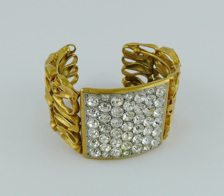 Yves Saint Laurent YSL Vintage Gold Toned Wire Cuff Bracelet For Sale 1