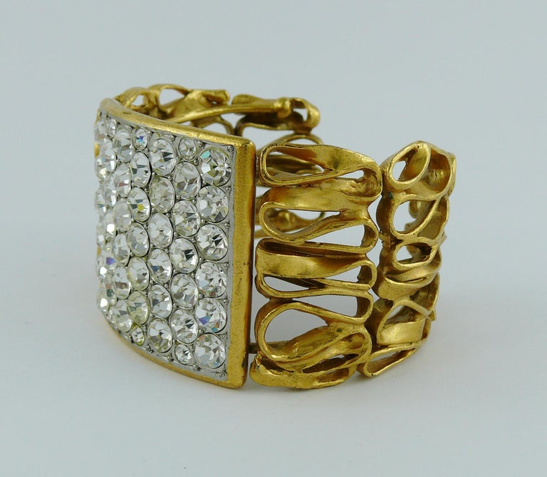 Yves Saint Laurent YSL Vintage Gold Toned Wire Cuff Bracelet For Sale 3
