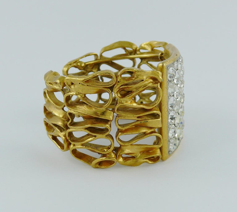 Yves Saint Laurent YSL Vintage Gold Toned Wire Cuff Bracelet For Sale 4