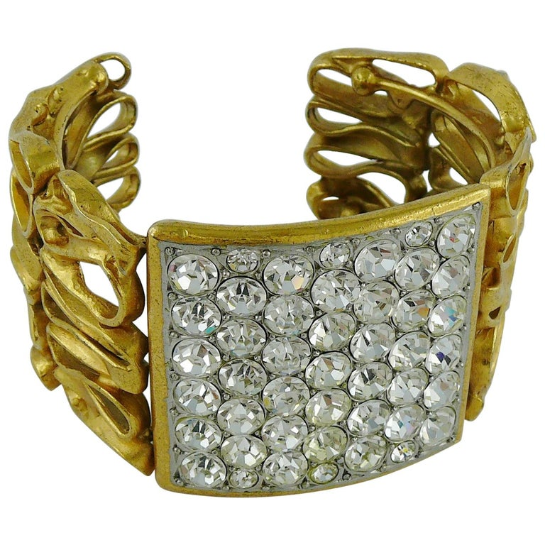 Yves Saint Laurent YSL Vintage Gold Toned Wire Cuff Bracelet For Sale
