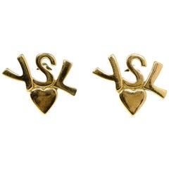 Yves Saint Laurent YSL Vintage Goldtone Heart Logo Clip On Earrings