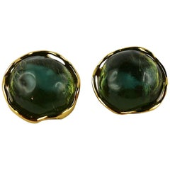 Yves Saint Laurent YSL Vintage Green Resin Cabochon Clip-On Earrings