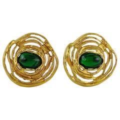 Yves Saint Laurent YSL vintage Green Resin Swirl Clip-On Earrings