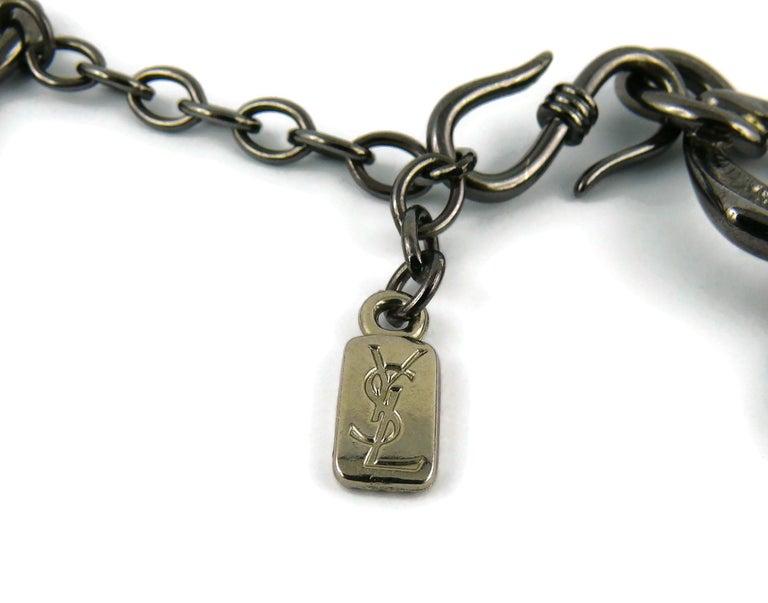Yves Saint Laurent YSL Vintage Gun Patina Ruby Necklace Earring Set For Sale 7