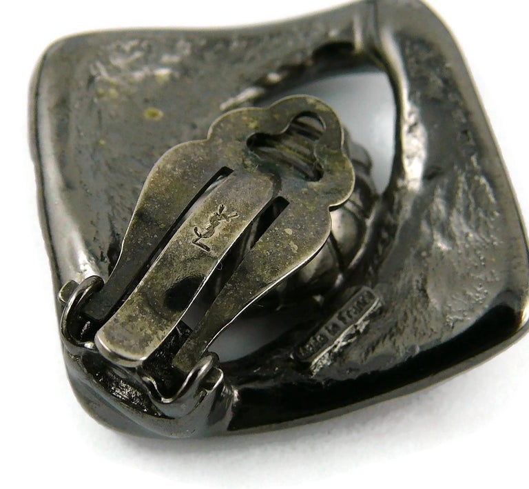 Yves Saint Laurent YSL Vintage Gun Patina Ruby Necklace Earring Set For Sale 8