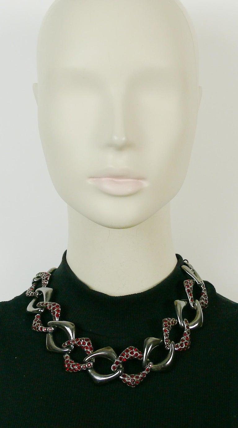 Women's Yves Saint Laurent YSL Vintage Gun Patina Ruby Necklace Earring Set For Sale