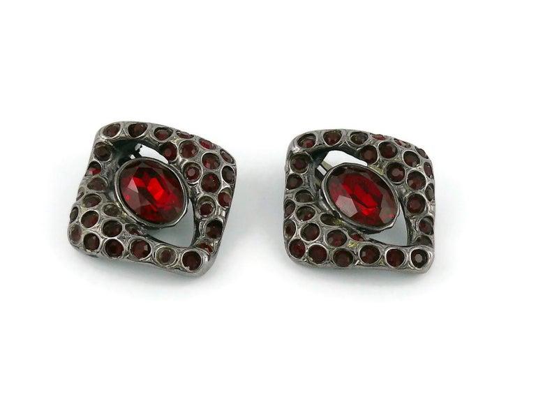Yves Saint Laurent YSL Vintage Gun Patina Ruby Necklace Earring Set For Sale 3
