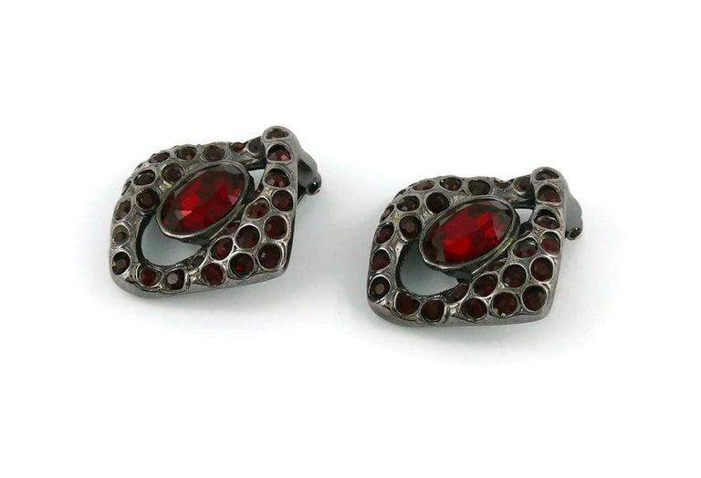 Yves Saint Laurent YSL Vintage Gun Patina Ruby Necklace Earring Set For Sale 4