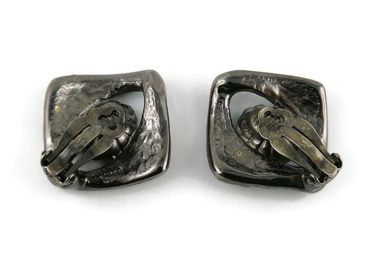 Yves Saint Laurent YSL Vintage Gun Patina Ruby Necklace Earring Set For Sale 5
