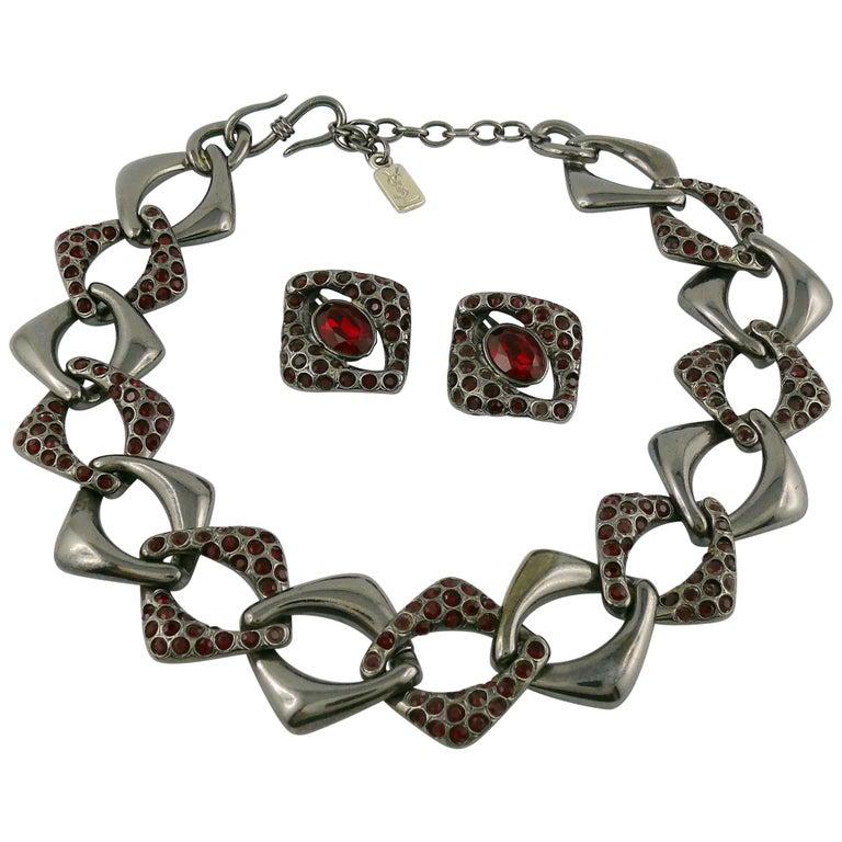 Yves Saint Laurent YSL Vintage Gun Patina Ruby Necklace Earring Set For Sale