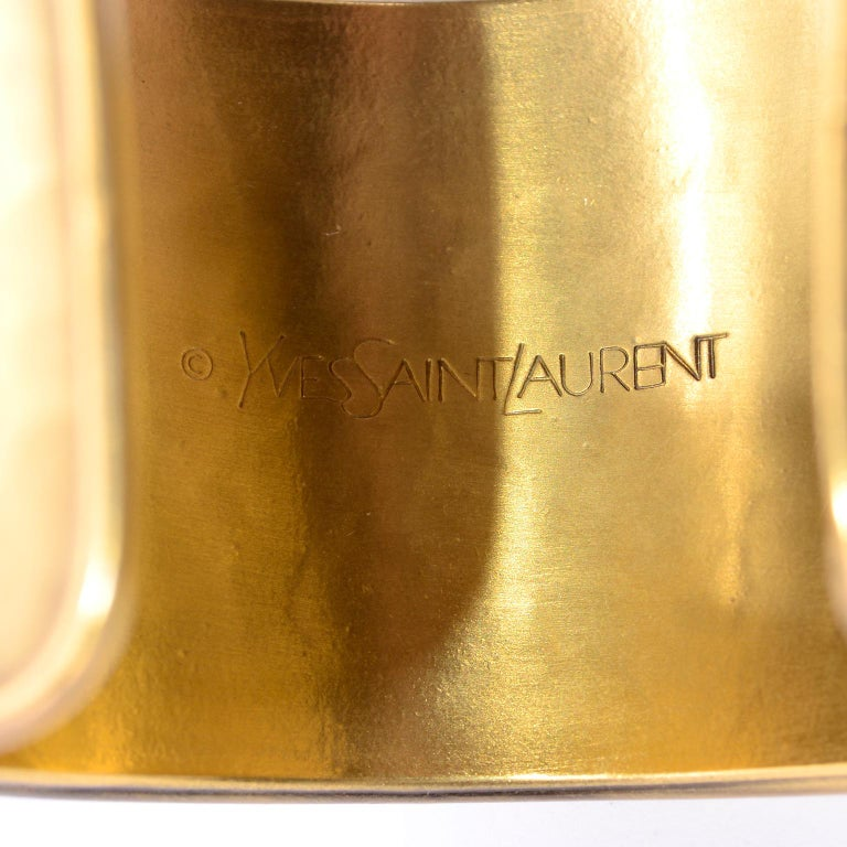 Yves Saint Laurent YSL Vintage Hammered Gold Cuff Bracelet For Sale 6