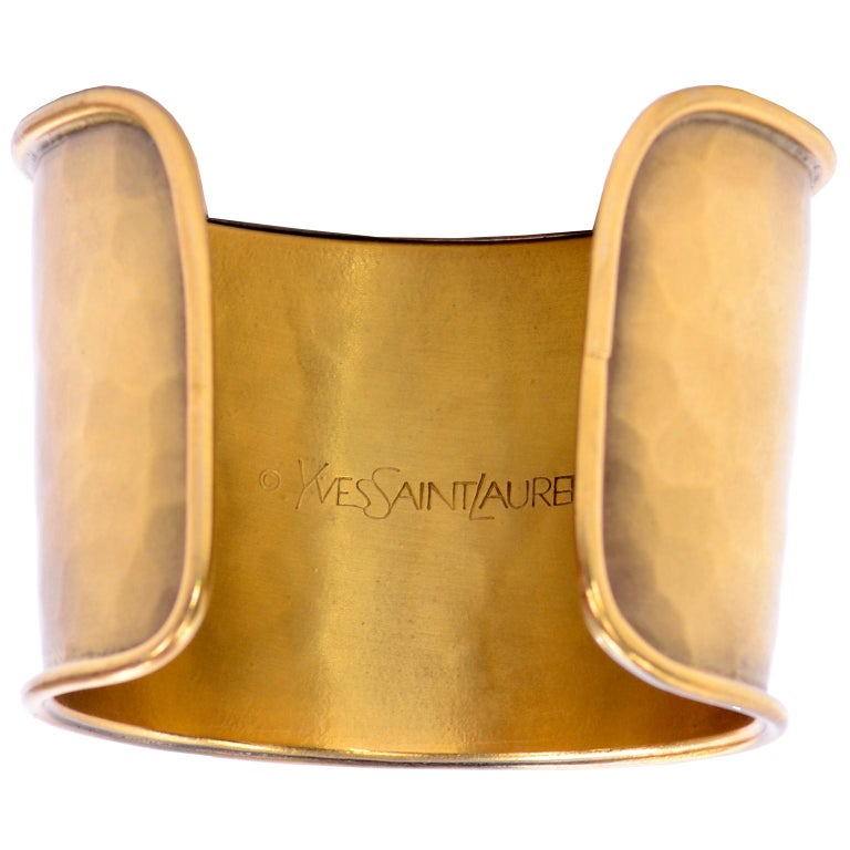 Yves Saint Laurent YSL Vintage Hammered Gold Cuff Bracelet For Sale 7