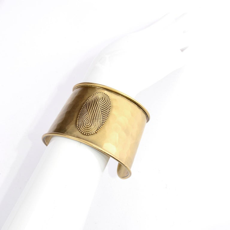 Women's Yves Saint Laurent YSL Vintage Hammered Gold Cuff Bracelet For Sale