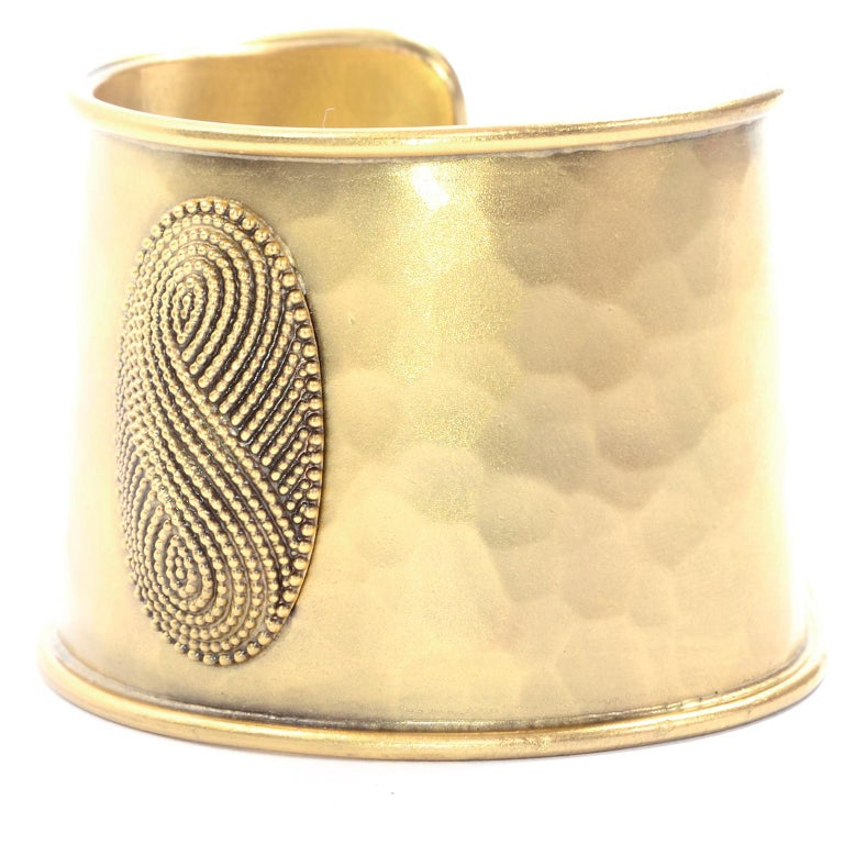 Yves Saint Laurent YSL Vintage Hammered Gold Cuff Bracelet For Sale 4