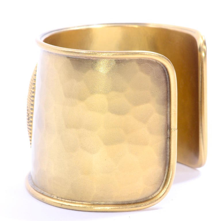 Yves Saint Laurent YSL Vintage Hammered Gold Cuff Bracelet For Sale 5