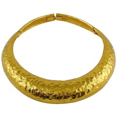 Yves Saint Laurent YSL Vintage Hammered Gold Tone Polka Choker Necklace