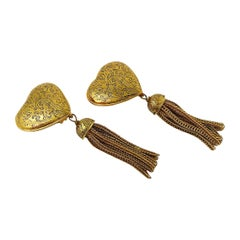Yves Saint Laurent YSL Vintage Heart and Tassel Dangling Earrings