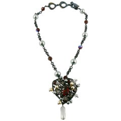 Yves Saint Laurent YSL Vintage Iconic Bejeweled Heart Pendant Necklace