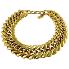 Yves Saint Laurent YSL Vintage Iconic Gold Toned Curb Chain Necklace
