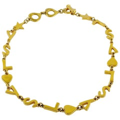 Yves Saint Laurent YSL Vintage Iconic Initials Hearts Stars Necklace