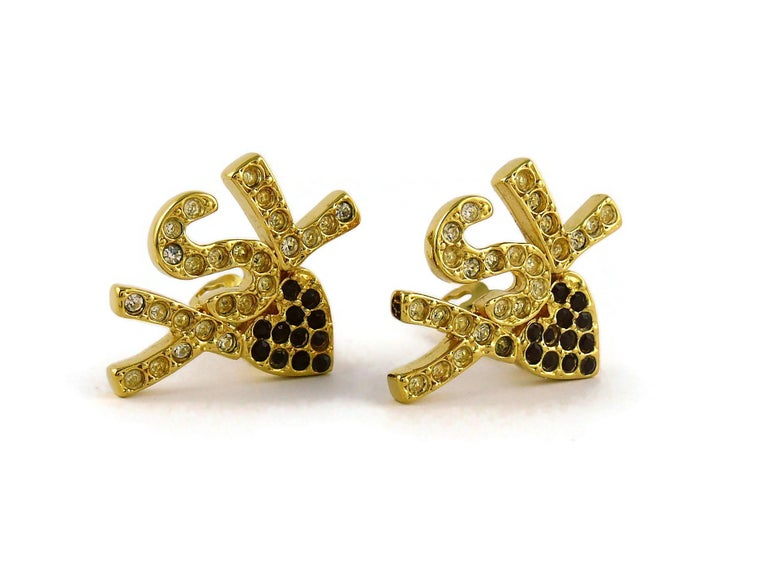 Yves Saint Laurent YSL Vintage Iconic Jewelled Initials Heart Clip-On Earrings In Good Condition For Sale In Nice, FR