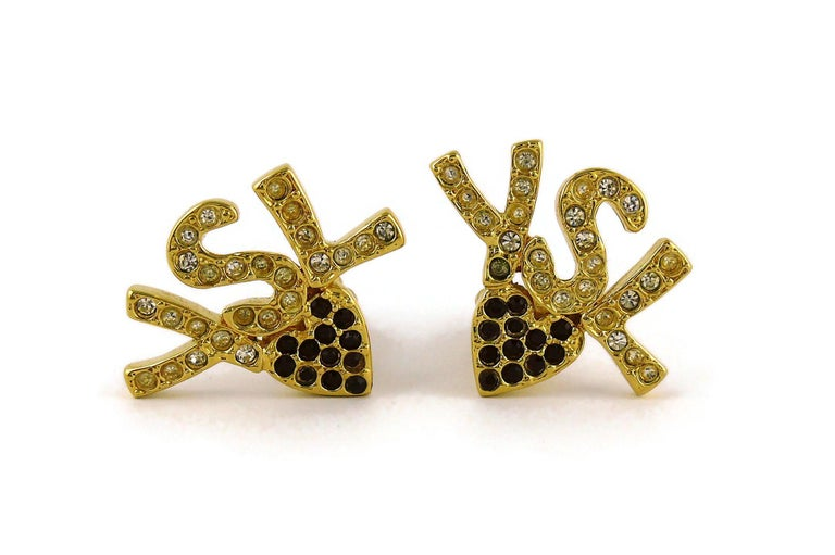 Women's Yves Saint Laurent YSL Vintage Iconic Jewelled Initials Heart Clip-On Earrings For Sale