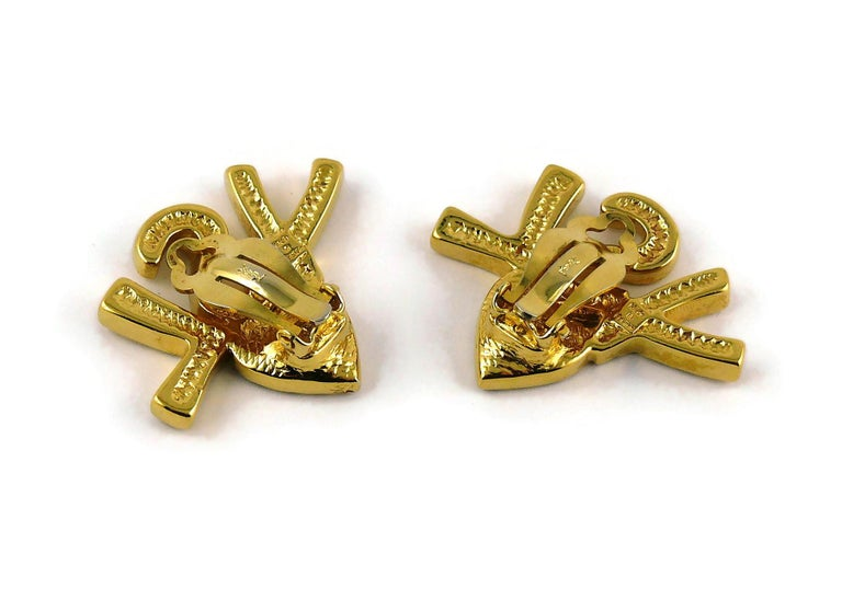 Yves Saint Laurent YSL Vintage Iconic Jewelled Initials Heart Clip-On Earrings For Sale 2