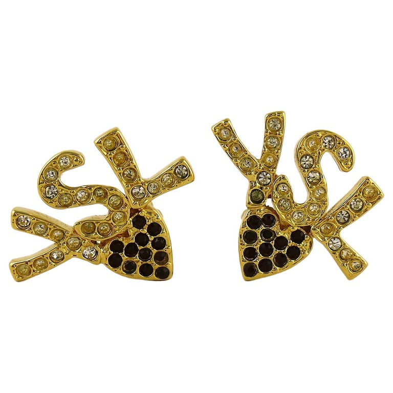 Yves Saint Laurent YSL Vintage Iconic Jewelled Initials Heart Clip-On Earrings For Sale