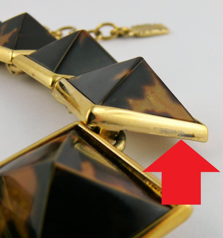 Yves Saint Laurent YSL Vintage Iconic Leopard Pyramid Necklace For Sale 9