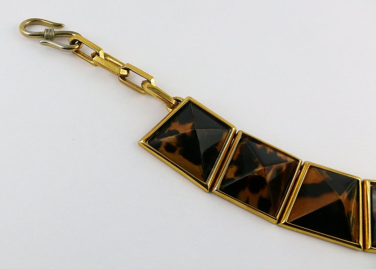 Yves Saint Laurent YSL Vintage Iconic Leopard Pyramid Necklace In Fair Condition For Sale In Nice, FR