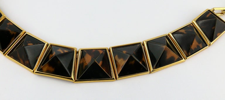 Women's Yves Saint Laurent YSL Vintage Iconic Leopard Pyramid Necklace For Sale