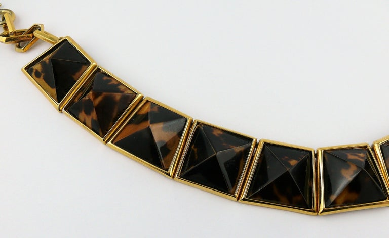 Yves Saint Laurent YSL Vintage Iconic Leopard Pyramid Necklace For Sale 1