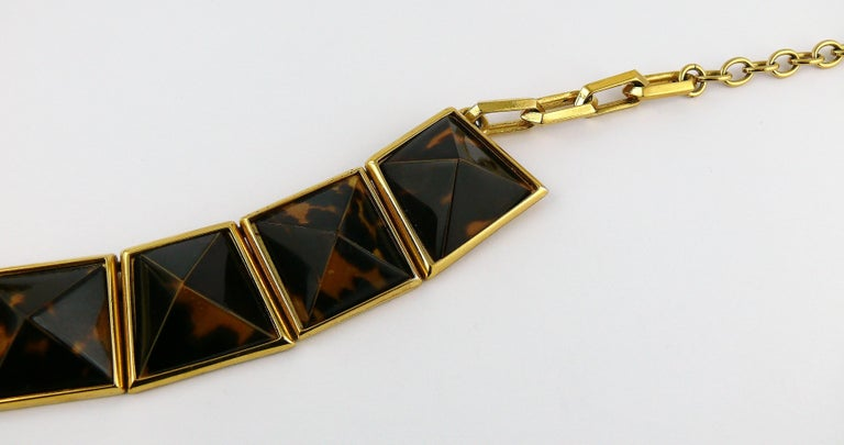 Yves Saint Laurent YSL Vintage Iconic Leopard Pyramid Necklace For Sale 3