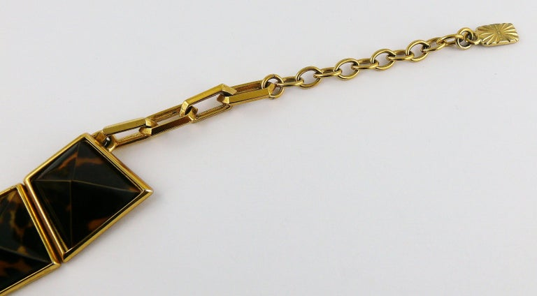 Yves Saint Laurent YSL Vintage Iconic Leopard Pyramid Necklace For Sale 4